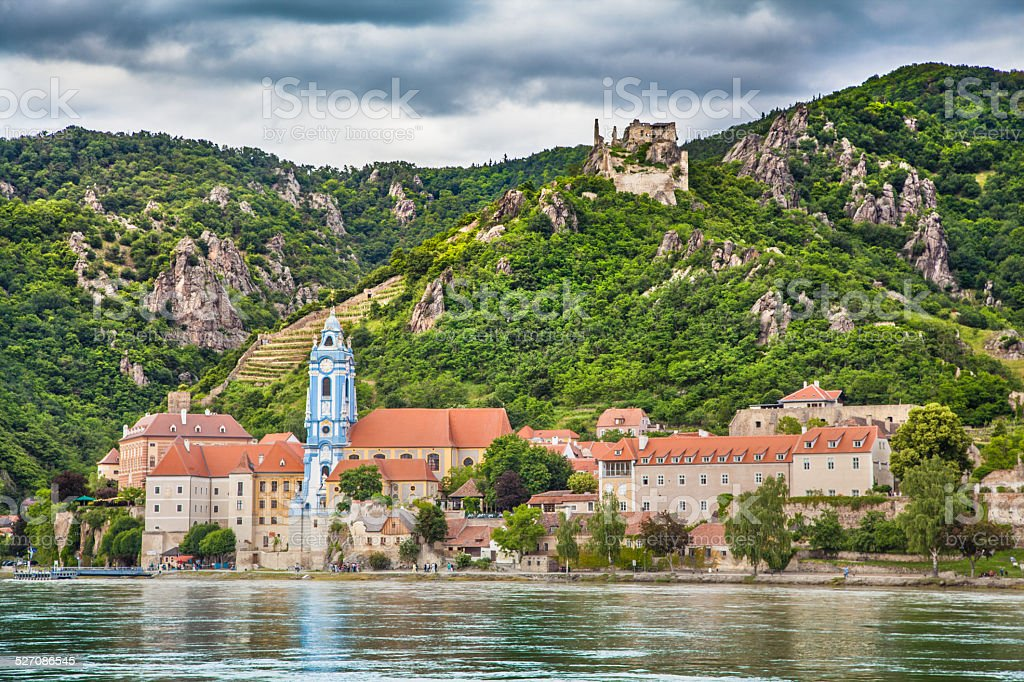 Town of D?rnstein with Danube river, Wachau, Austria stock photo