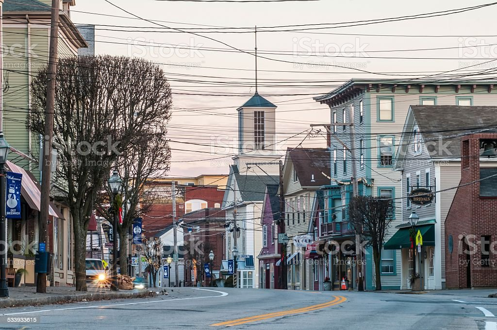 town of east greenwich street scenes stock photo