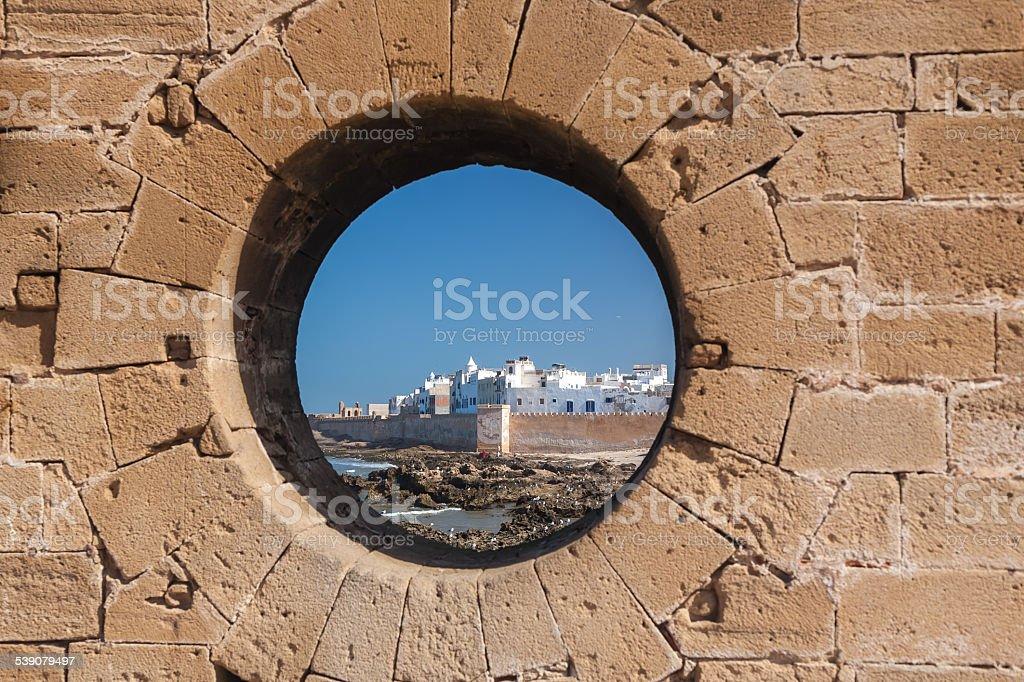 ESSAOUIRA, MOROCCO -  town of Essaouira circa.  fortress stock photo
