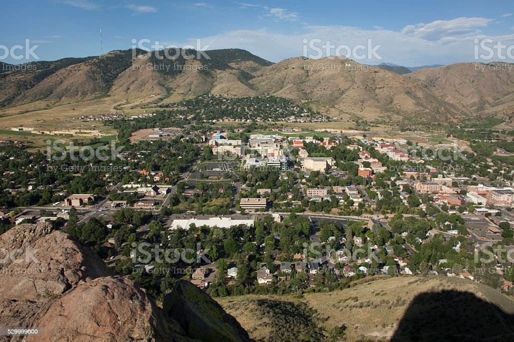 Town of Golden Colorado Castle Rock shadow Lookout Mountain stock photo