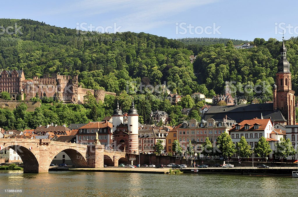 Town of Heidelberg, across from the River Necker, Germany stock photo