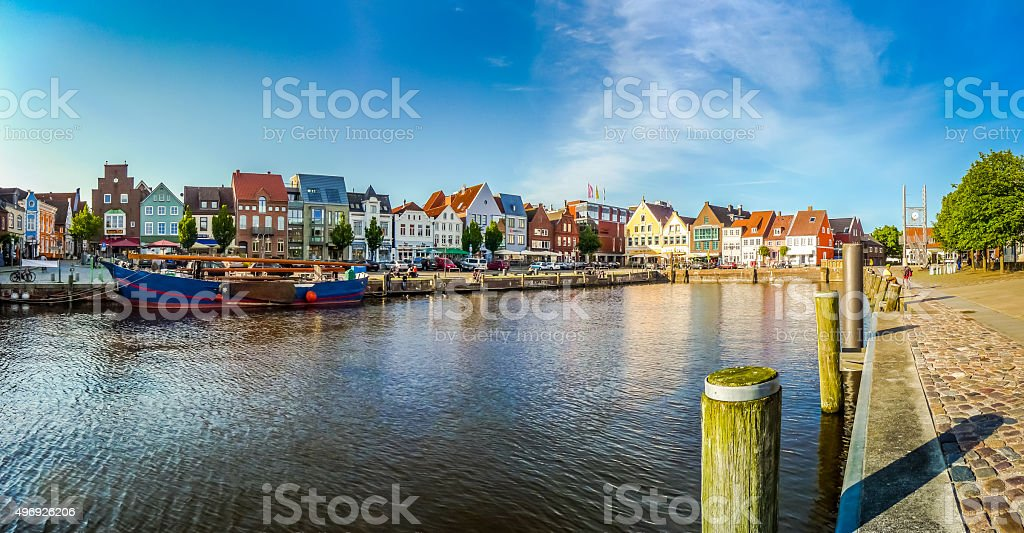 Town of Husum, Nordfriesland, Schleswig-Holstein, Germany stock photo