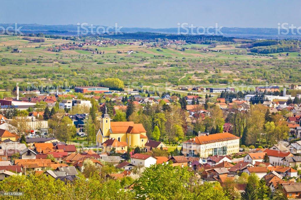Town of Ivanec aerial springtime view, Zagorje, Croatia stock photo