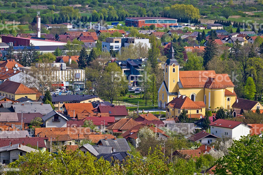 Town of Ivanec aerial view stock photo