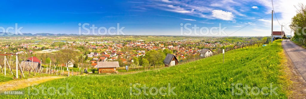 Town of Ivanec panorama from green hills, Zagorje, Croatia stock photo