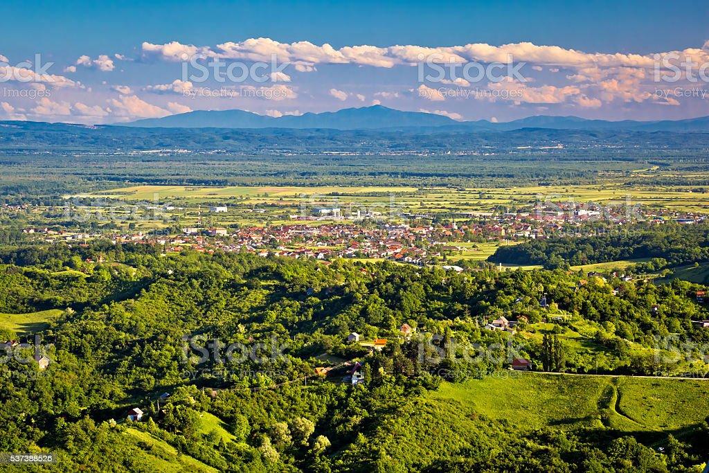 Town of Jastrebarsko and Zumberak vineyard region stock photo