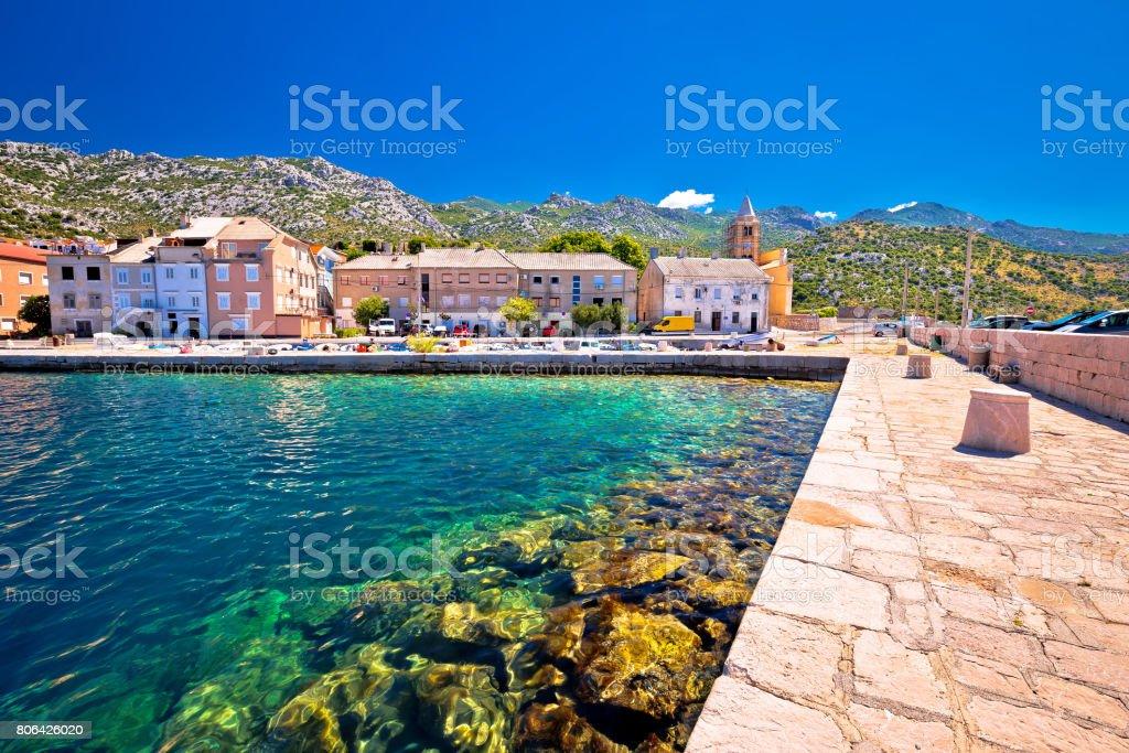 Town of Karlobag in Velebit channel panoramic view, Croatia stock photo