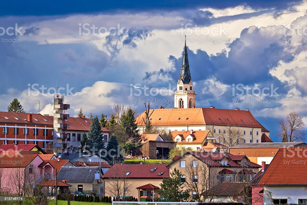 Town of Krizevci cathedral view stock photo