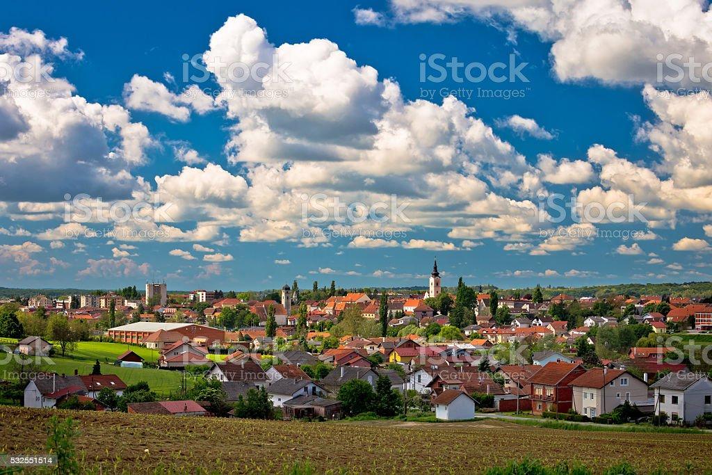 Town of Krizevci cloudy skyline stock photo