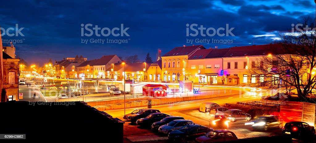 Town of Krizevci evening advent view stock photo