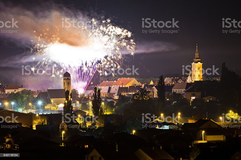 Town of Krizevci fireworks evening view stock photo