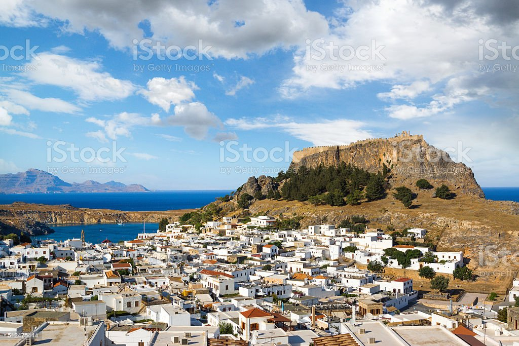 Town of Lindos in Rhodes, Greece stock photo