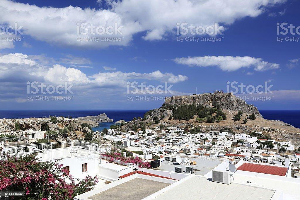 Town of Lindos, Rhodes Island - Greece stock photo