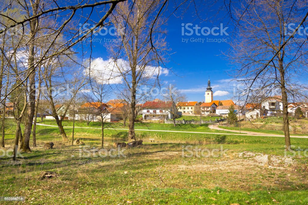 Town of Lubreg park view, Prigorje region of Croatia stock photo