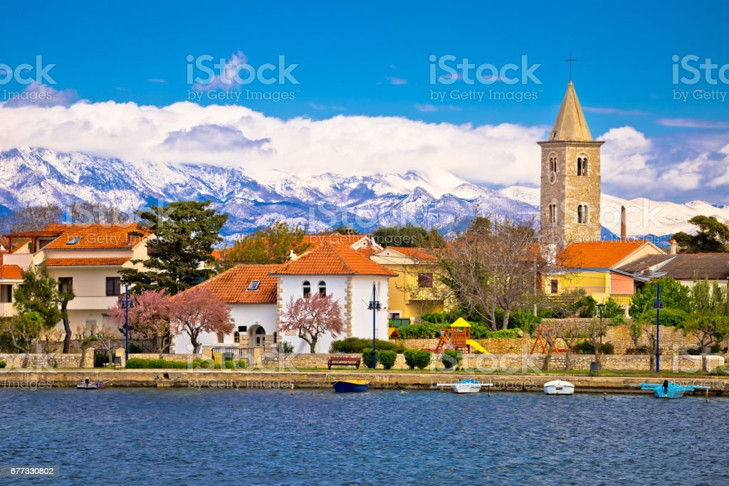 Town of Nin and Velebit mountain background, Dalmatia, Croatia stock photo