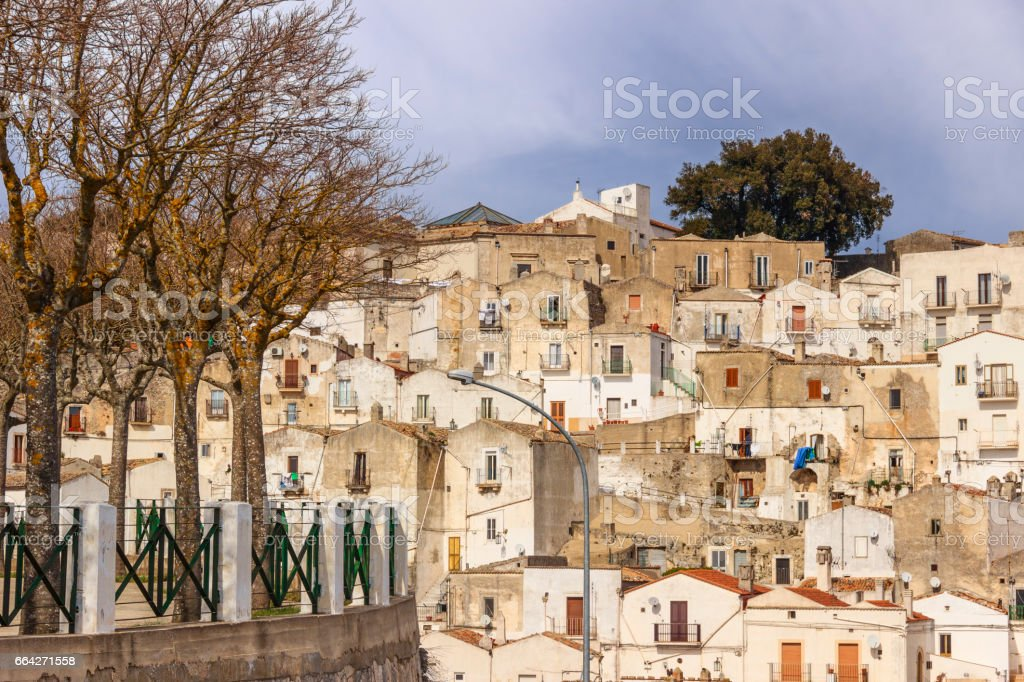 Town of of Monte Sant'Angelo: view of the district Junno. stock photo