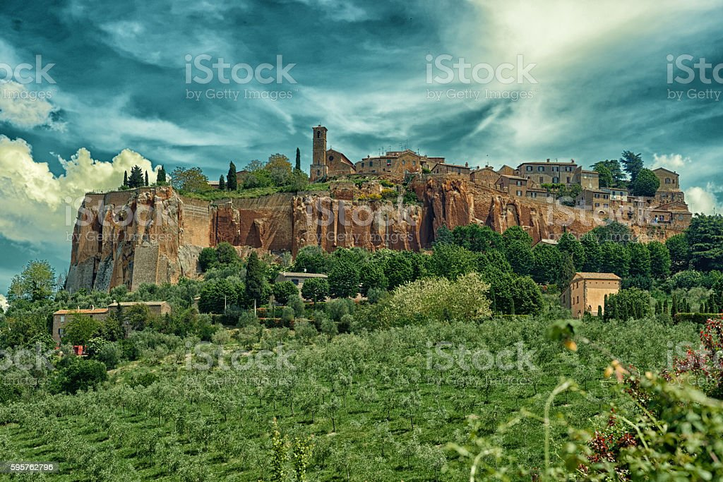 Town of Orvieto, Umbria, Italy, toned stock photo