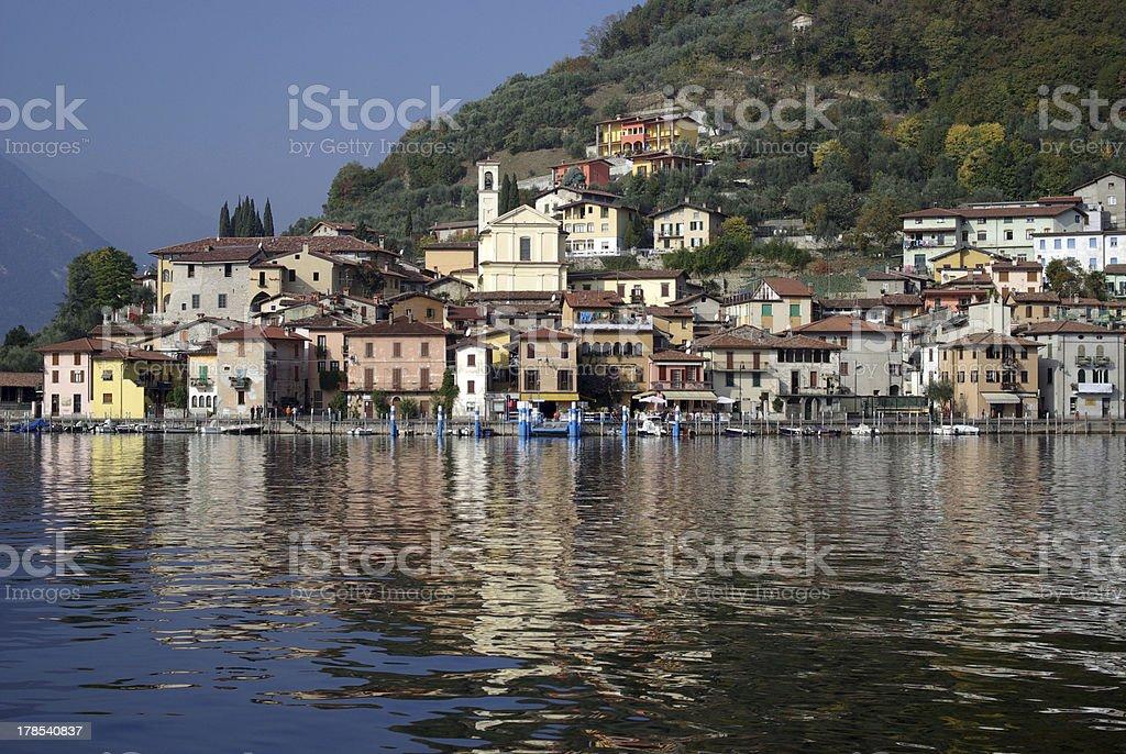 Town of Peschiera Maraglio, Iseo lake, Italy stock photo