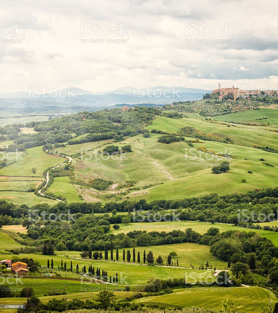 Town of Pienza with the typical Tuscan hills stock photo