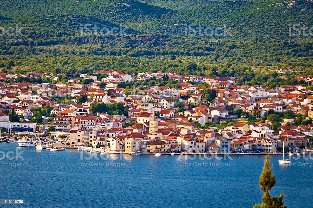 Town of Pirovac aerial view stock photo