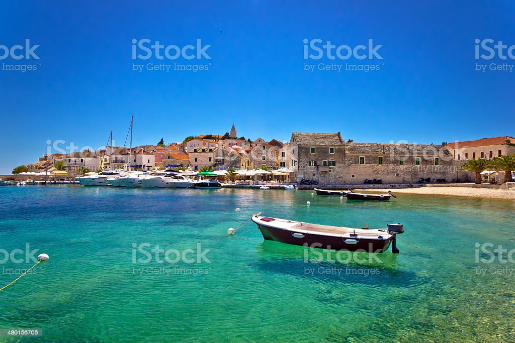Town of Primosten turquoise waterfront view stock photo