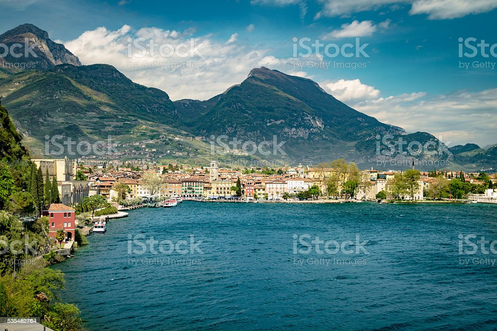 Town of Riva del Garda, Lake Garda, Italy. stock photo