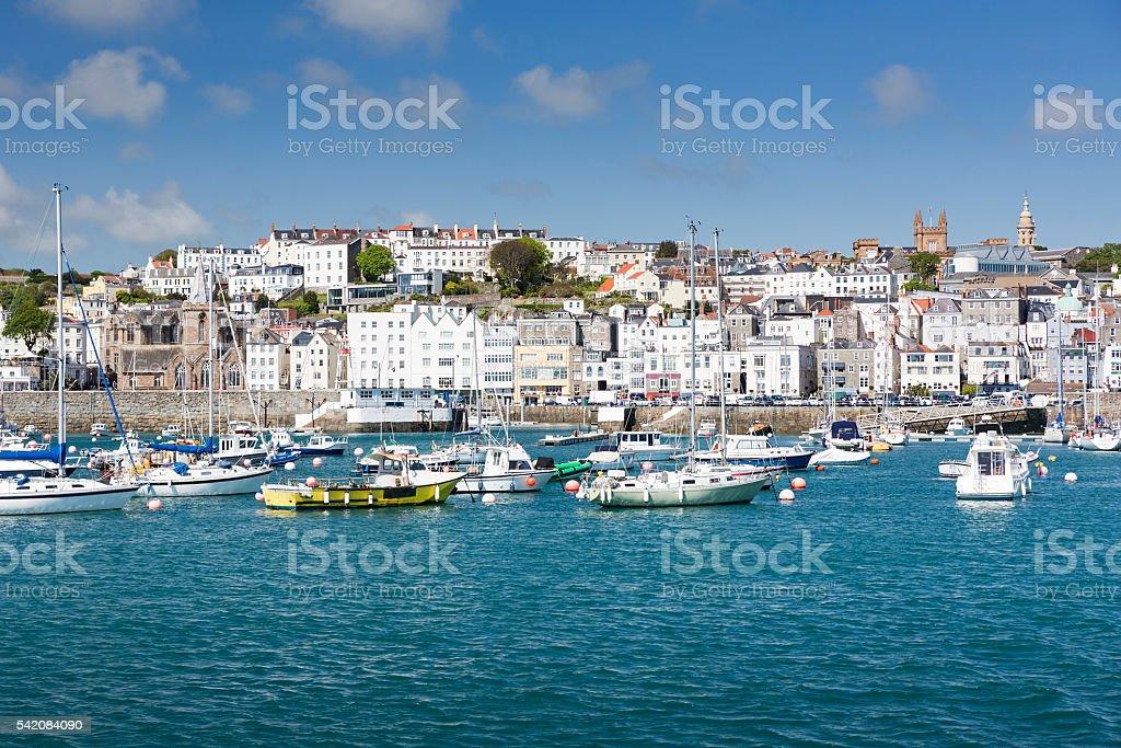 Town of Saint Peter Port on Guernsey, UK stock photo