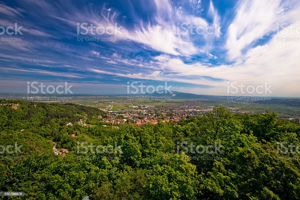 Town of Samobor aerial view stock photo