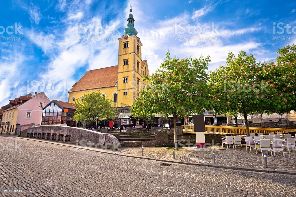Town of Samobor church and squre view stock photo