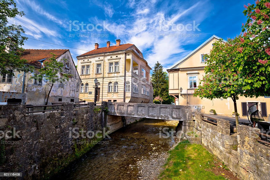 Town of Samobor creek and old architecture stock photo