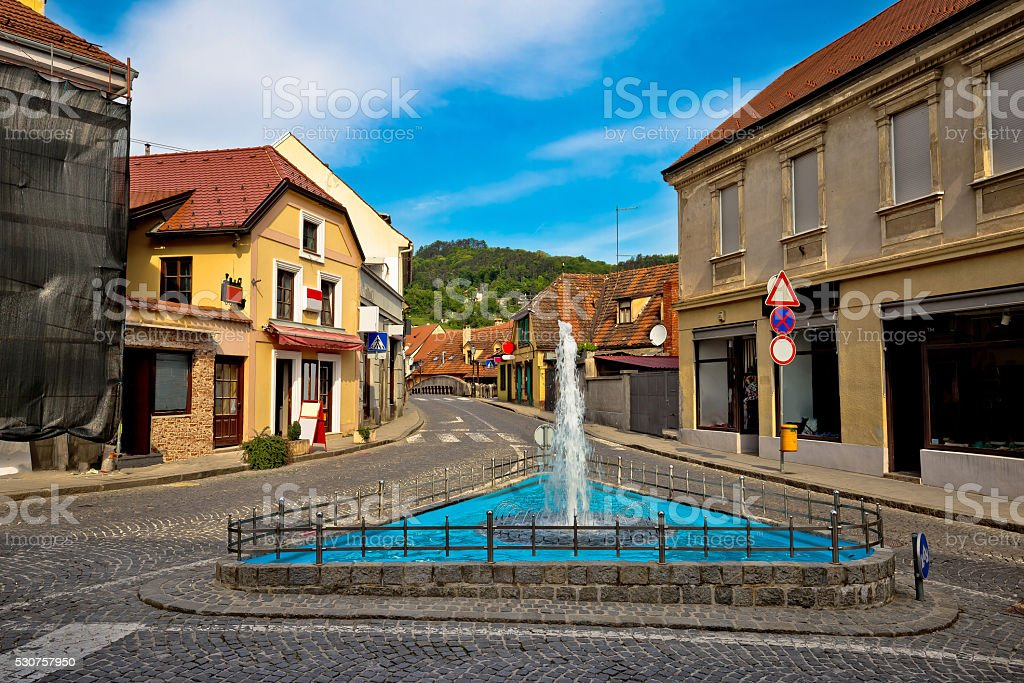 Town of Samobor historic architecture and fountain stock photo