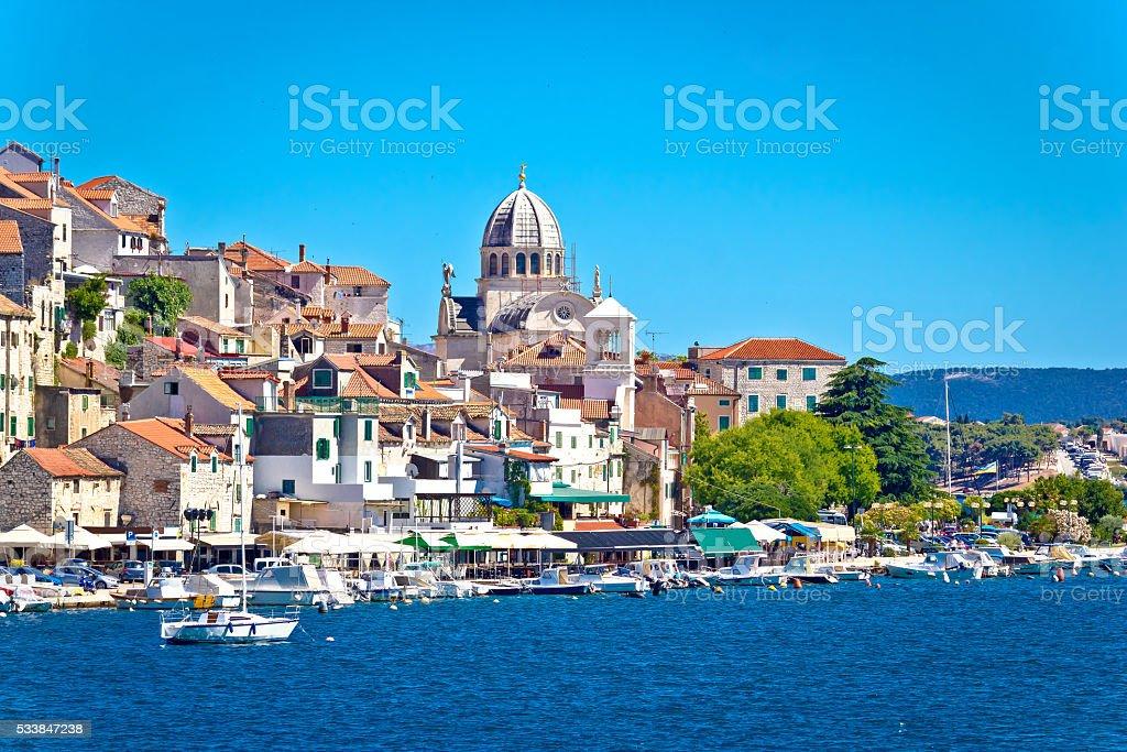 UNESCO town of Sibenik architecture and coastline stock photo
