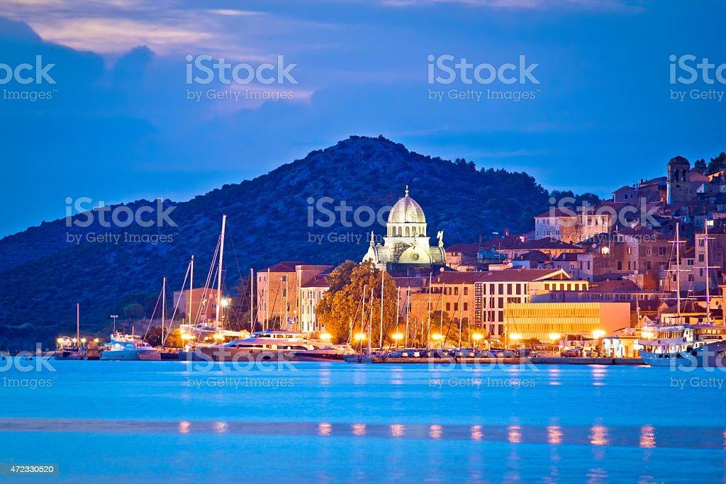 UNESCO town of Sibenik blue hour view stock photo