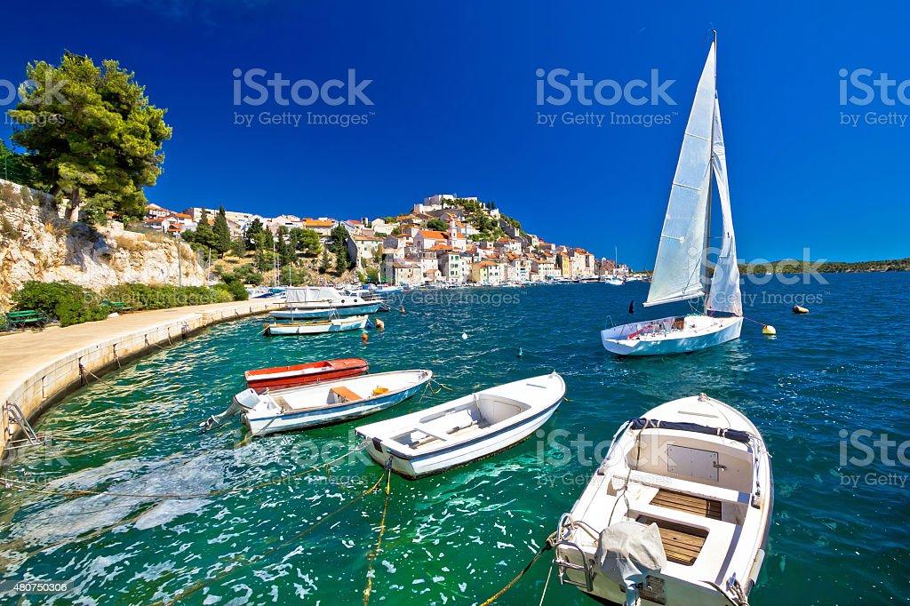 UNESCO town of Sibenik coast view stock photo