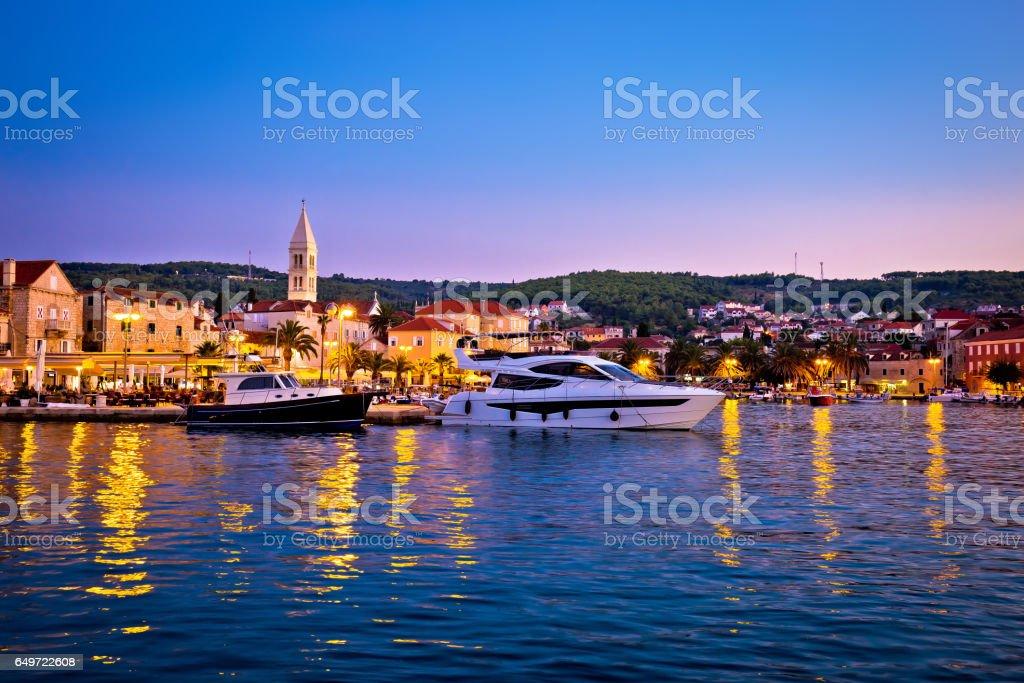 Town of Supetar waterfront evening view, Brac island, Dalmatia, Croatia stock photo