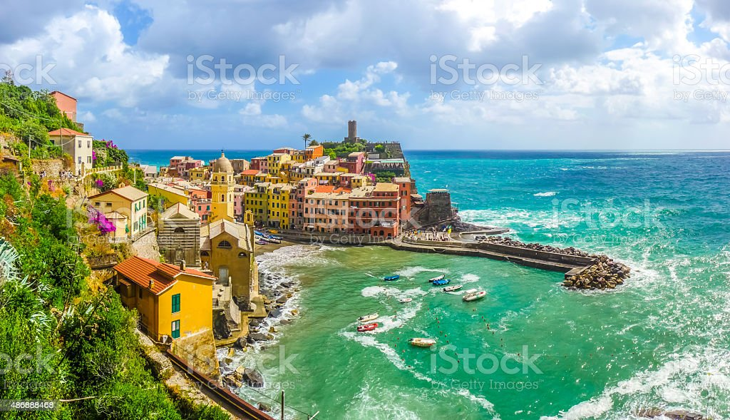 Town of Vernazza, Cinque Terre, Italy stock photo