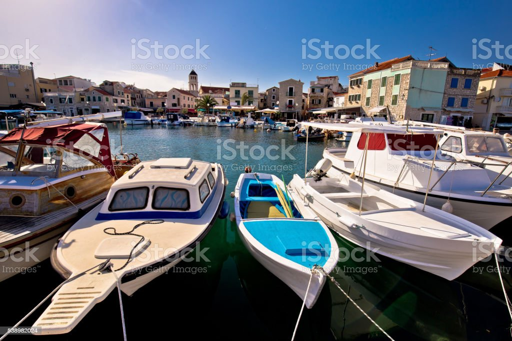 Town of Vodice tourist waterfront view stock photo