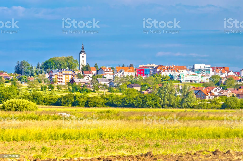 Town of Vrbovec landscape and architecture panoramic view, Prigorje region of Croatia stock photo