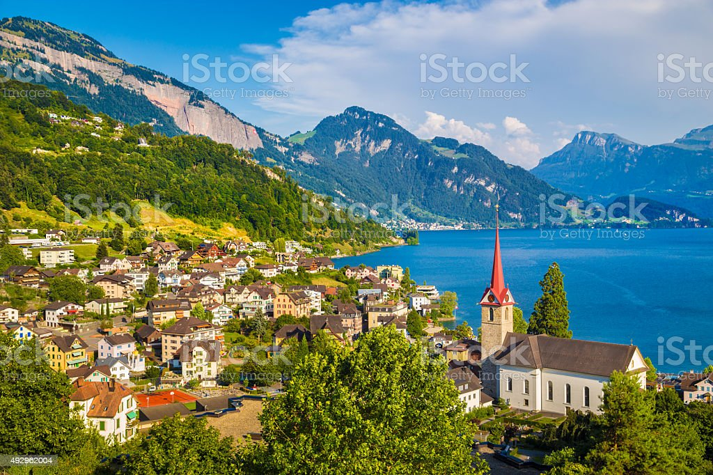 Town of Weggis at Lake Lucerne, Switzerland stock photo