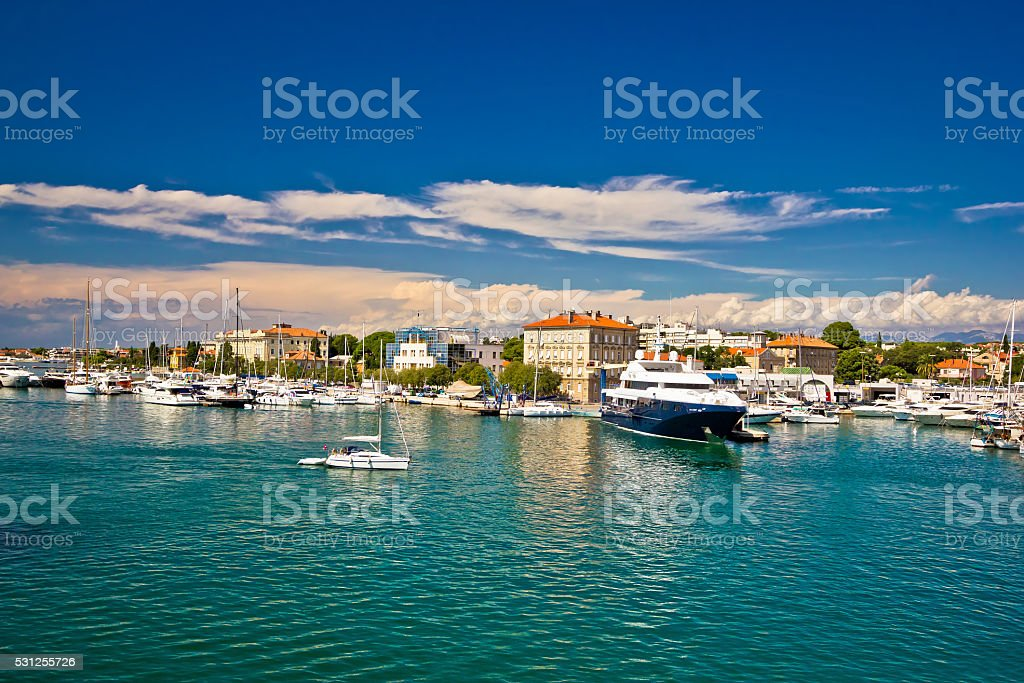 Town of Zadar harbor view stock photo