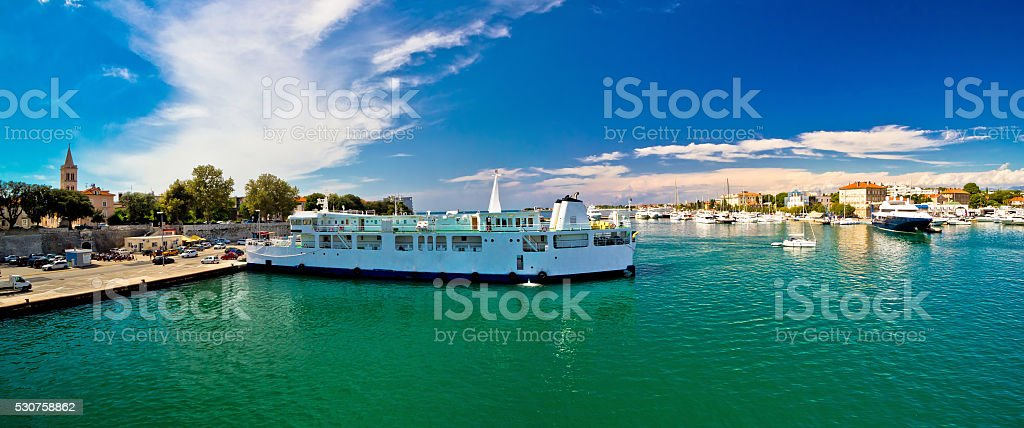 Town of Zadar waterfront and ferry harbor stock photo