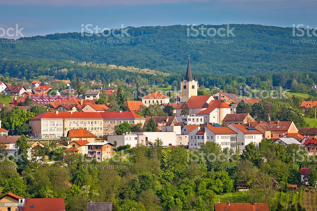 Town of Zelina in green nature view stock photo