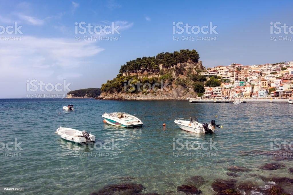 Town on the coast of Greece at the seaside in summer stock photo