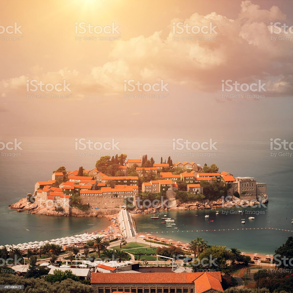 Town on the island stock photo