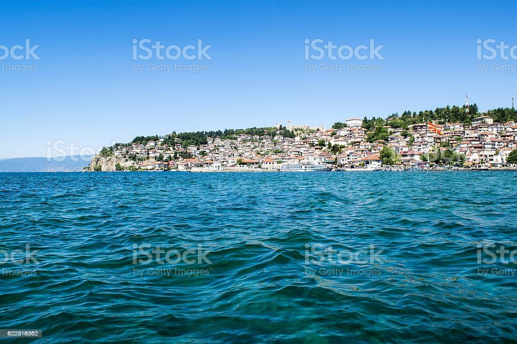 Town on the lake stock photo