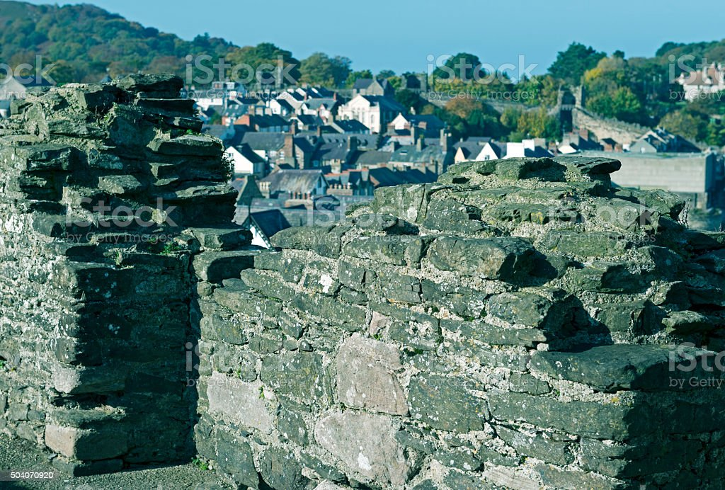 Town overlook from medieval wall in Conwy Wales stock photo