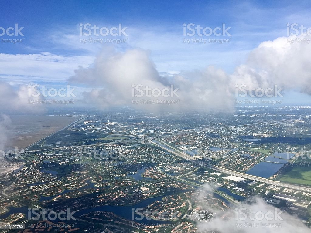 Town, road and river in aerial view, Florida stock photo