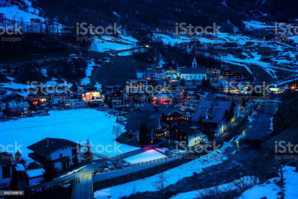 Town Soelden (Solden), Tirol, Austria at dusk stock photo