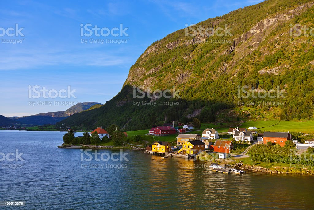 Town Sogndal and fjord - Norway stock photo