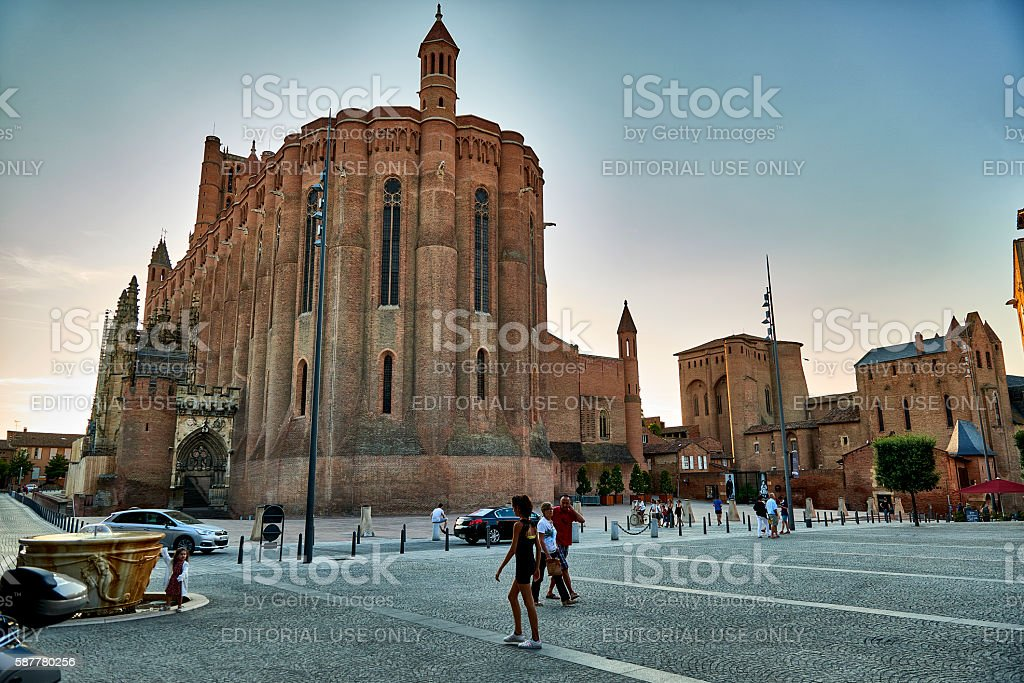 Town square and cathedral in Albi stock photo
